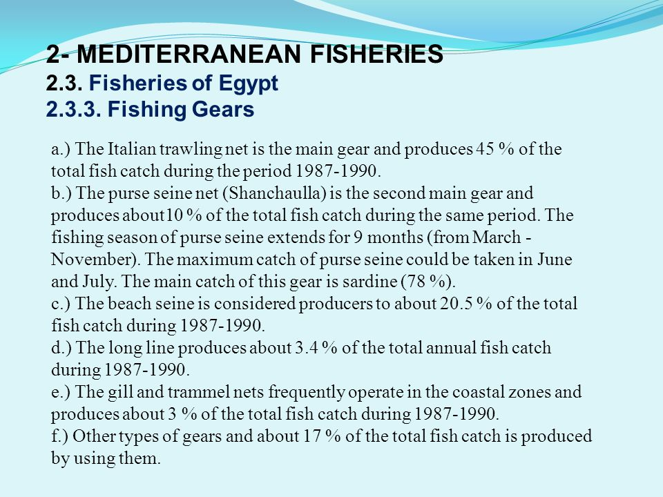 2- MEDITERRANEAN FISHERIES 2. 3. Fisheries of Egypt 2. 3. 3
