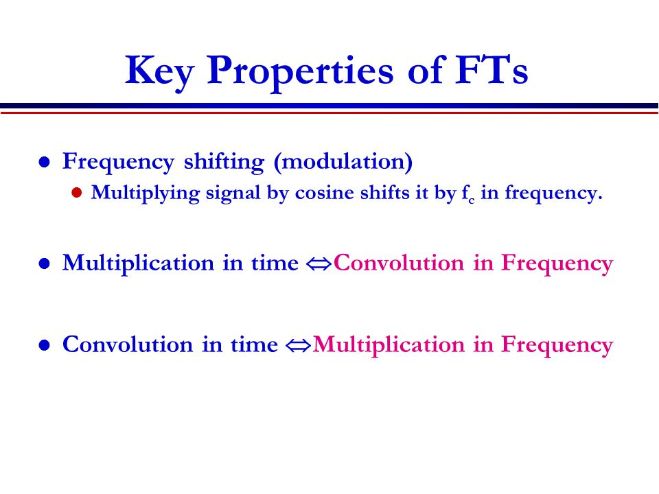 Key Properties of FTs Frequency shifting (modulation)