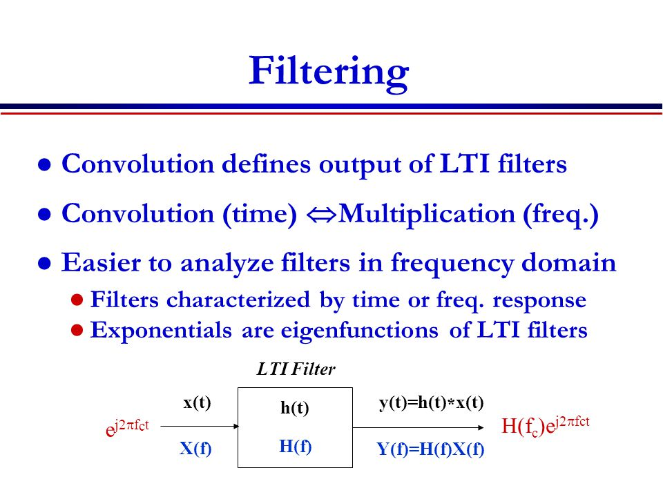 Filtering Convolution defines output of LTI filters
