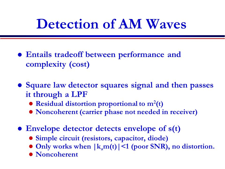 Detection of AM Waves Entails tradeoff between performance and complexity (cost) Square law detector squares signal and then passes it through a LPF.