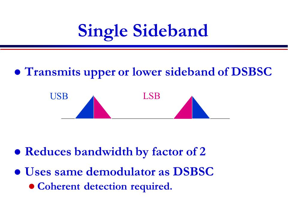 Single Sideband Transmits upper or lower sideband of DSBSC