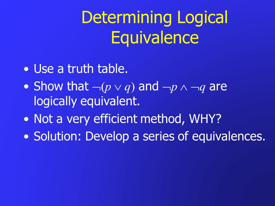 Determining Logical Equivalence