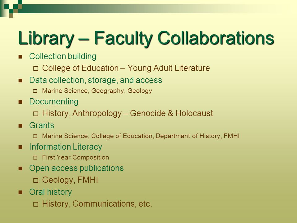 Library – Faculty Collaborations