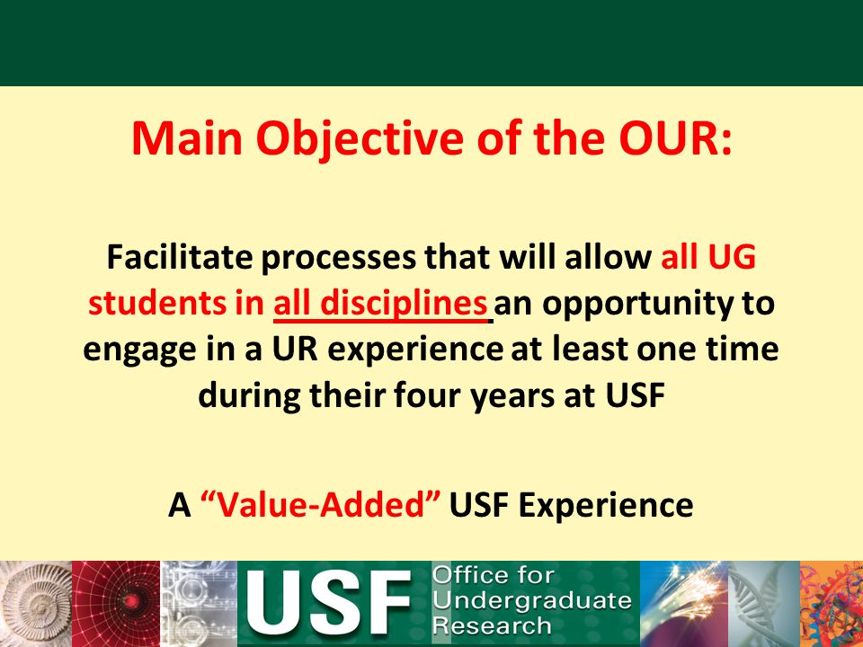 Main Objective of the OUR: A Value-Added USF Experience