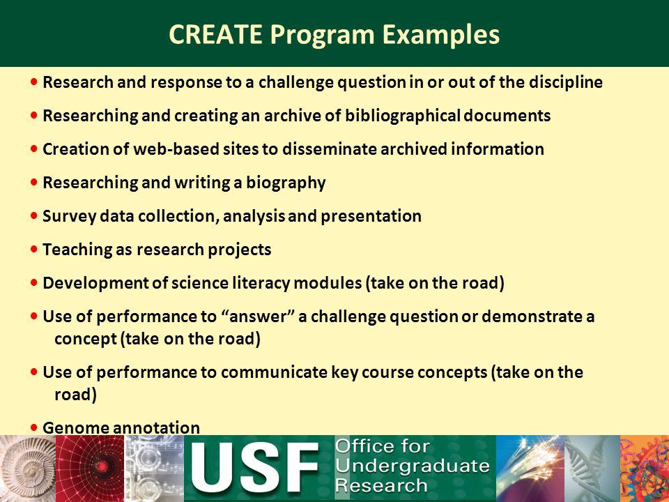 CREATE Program Examples