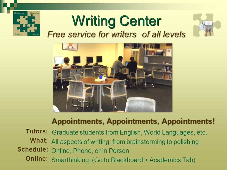 Writing Center Free service for writers of all levels