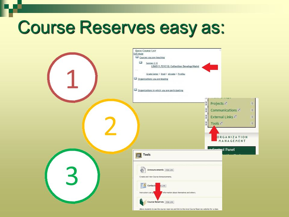 Course Reserves easy as: