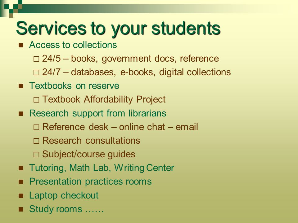 Services to your students