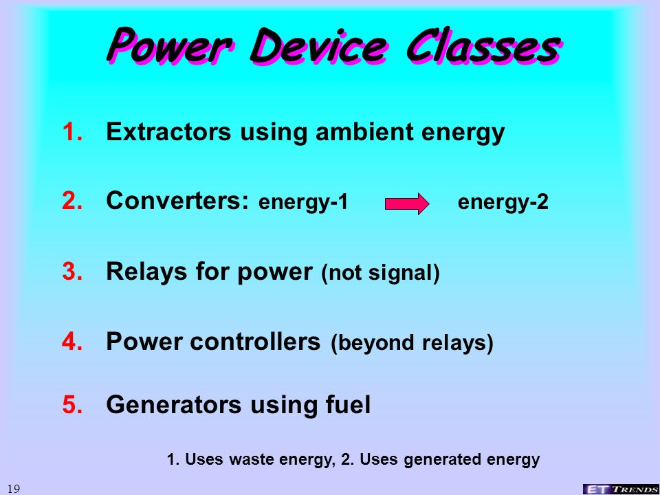 Power Device Classes Extractors using ambient energy