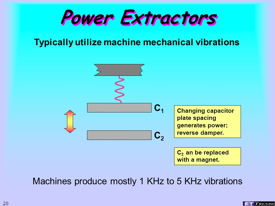 Power Extractors Typically utilize machine mechanical vibrations C1 C2