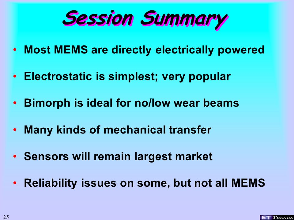 Session Summary Most MEMS are directly electrically powered