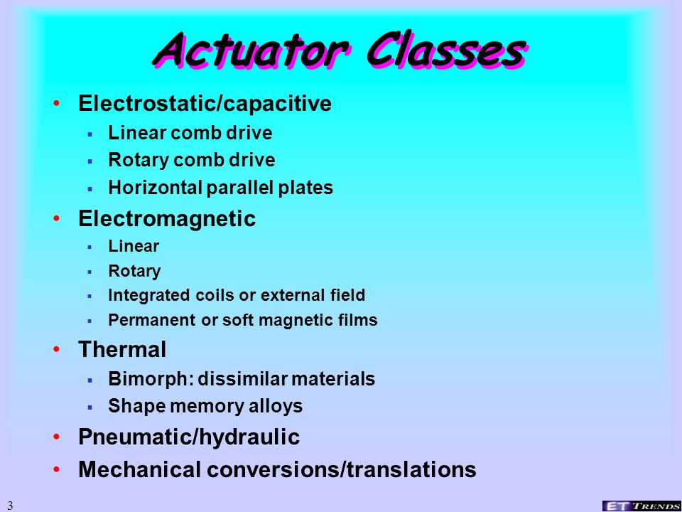 Actuator Classes Electrostatic/capacitive Electromagnetic Thermal