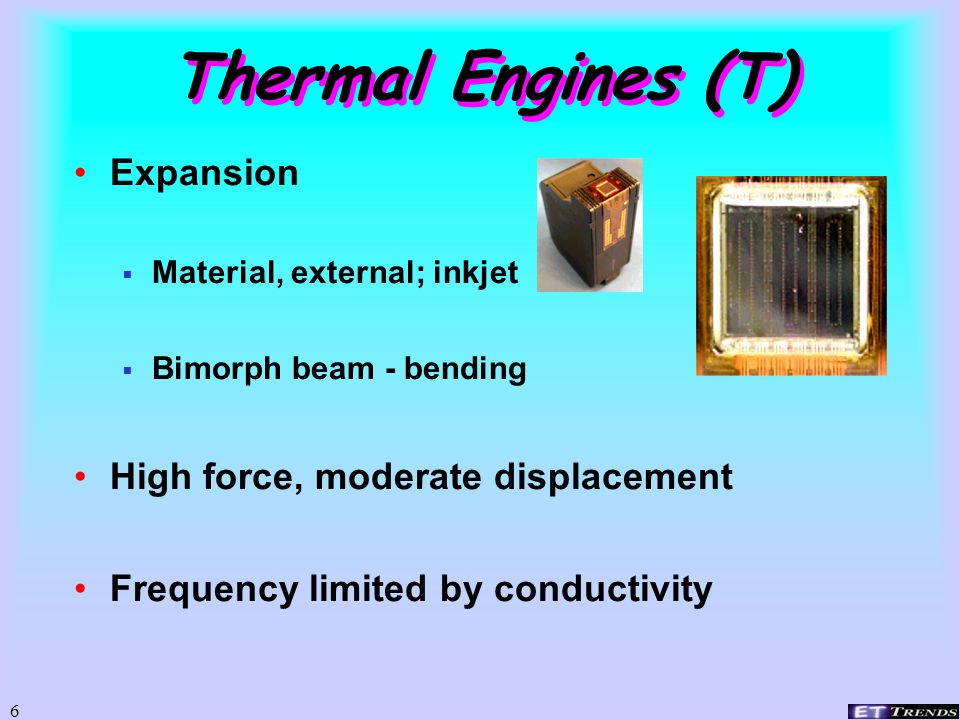 Thermal Engines (T) Expansion High force, moderate displacement
