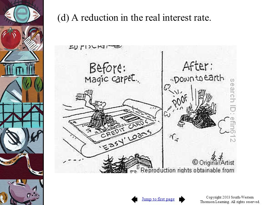 (d) A reduction in the real interest rate.