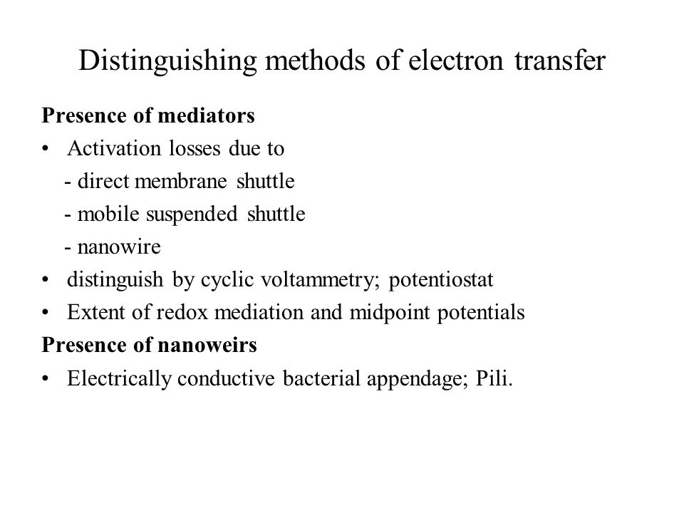 Distinguishing methods of electron transfer