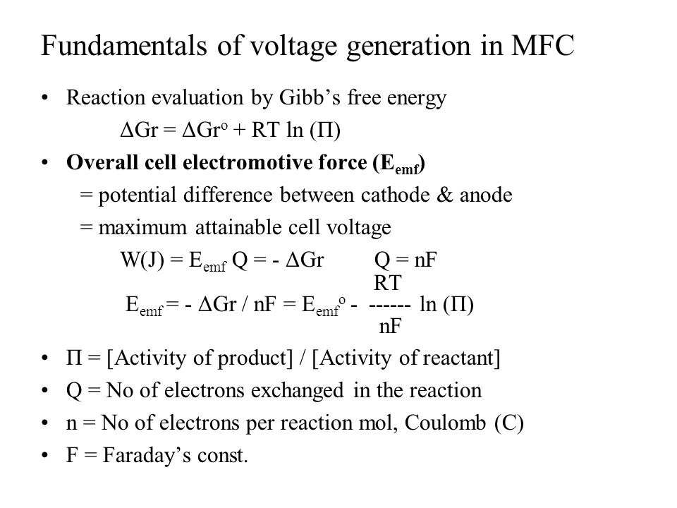 Fundamentals of voltage generation in MFC