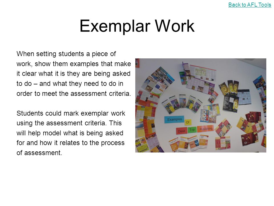 Exemplar Work When setting students a piece of