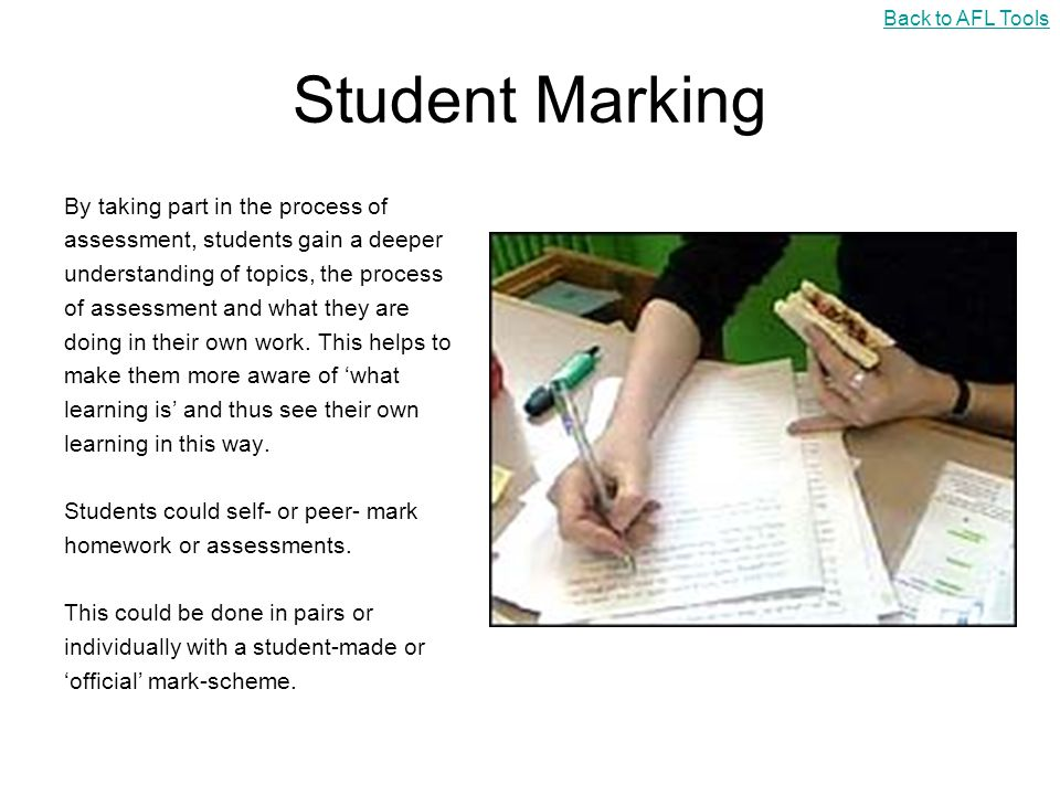 Student Marking By taking part in the process of
