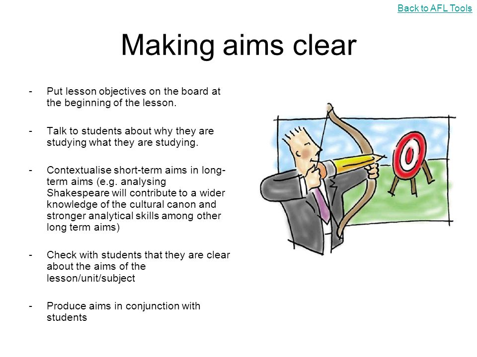 Back to AFL Tools Making aims clear. Put lesson objectives on the board at the beginning of the lesson.