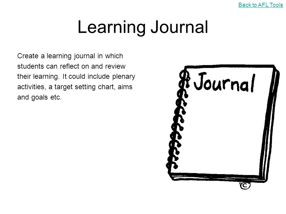 Learning Journal Create a learning journal in which