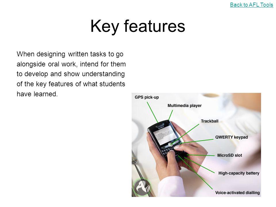 Key features When designing written tasks to go