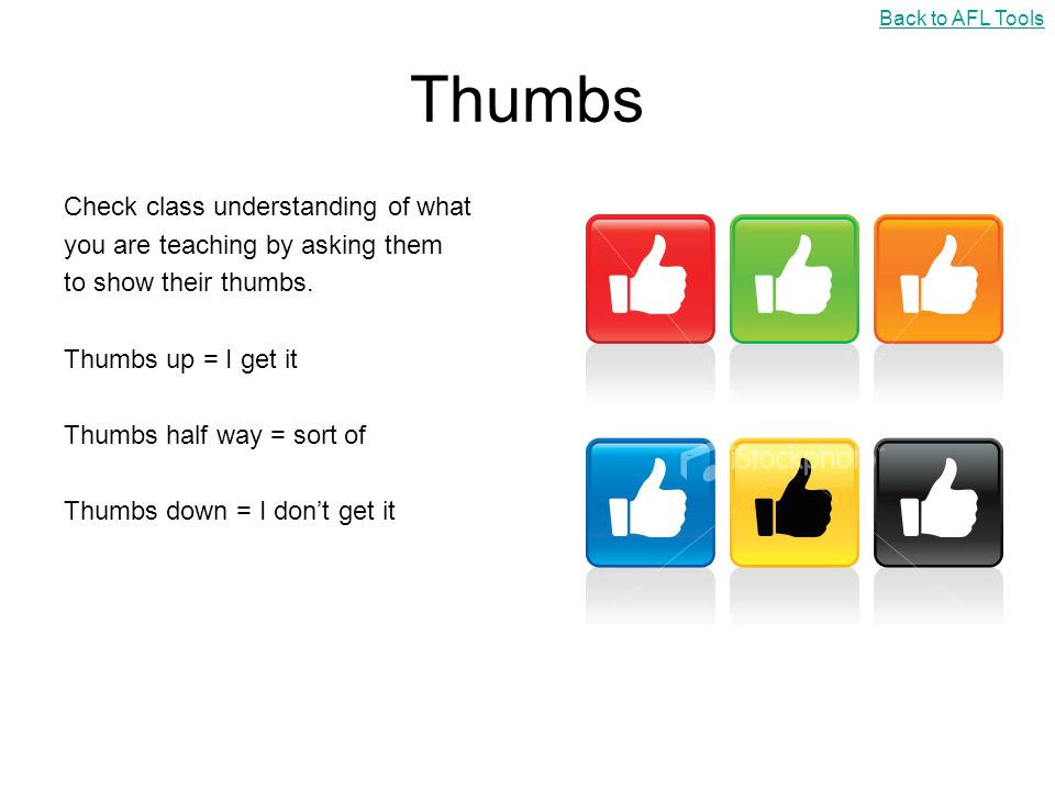 Thumbs Check class understanding of what