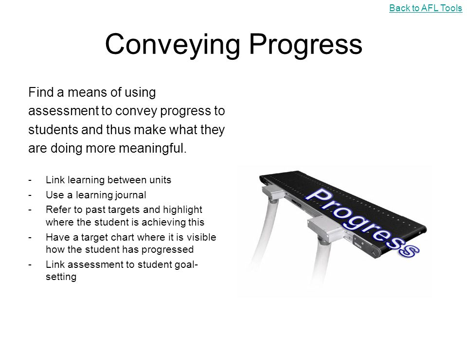 Progress Conveying Progress Find a means of using