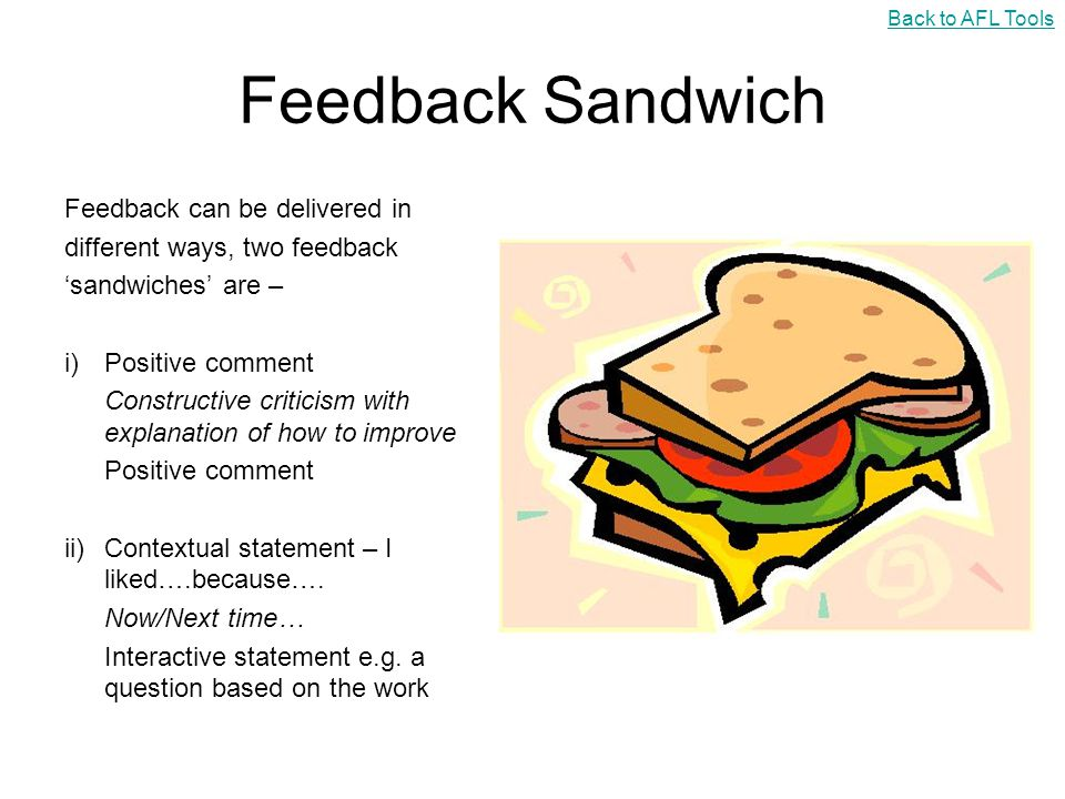 Feedback Sandwich Feedback can be delivered in