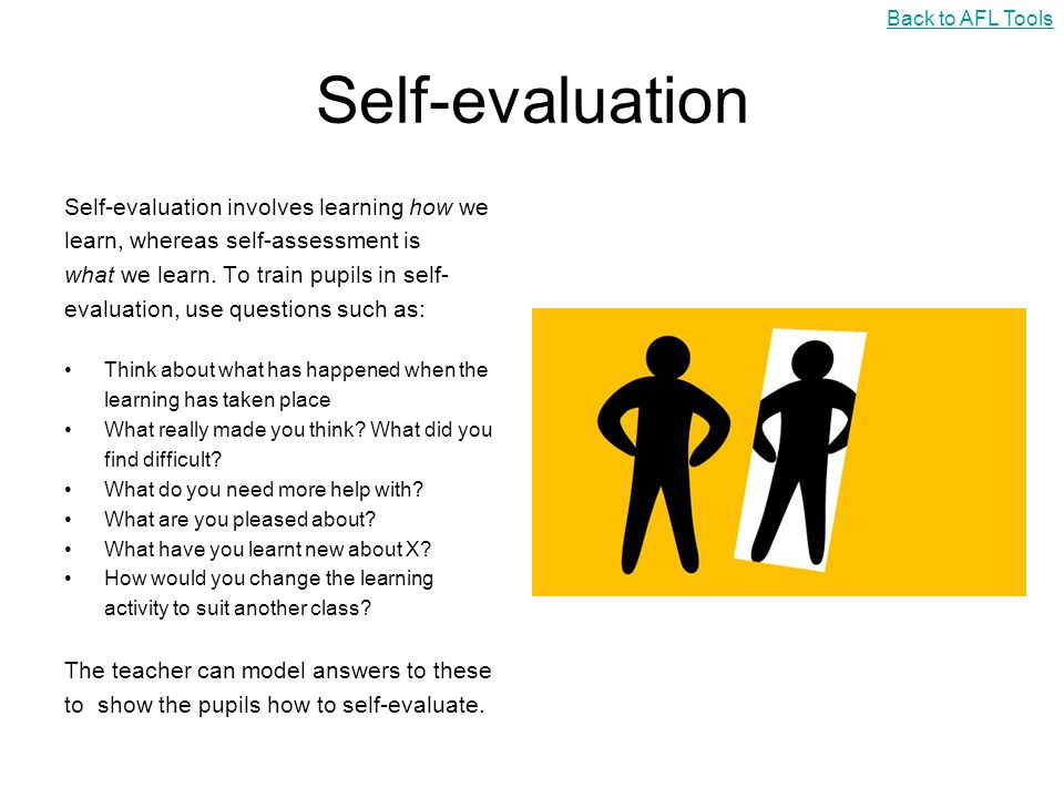 Self-evaluation Self-evaluation involves learning how we