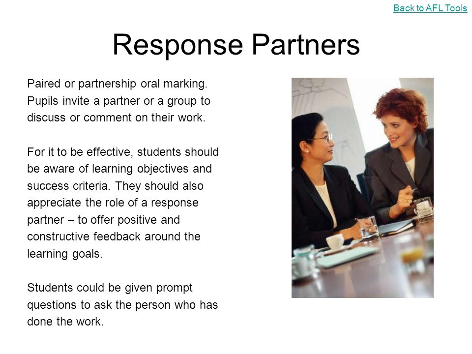 Response Partners Paired or partnership oral marking.