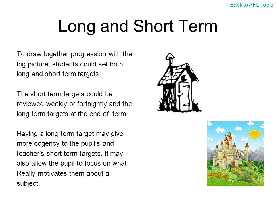 Long and Short Term To draw together progression with the