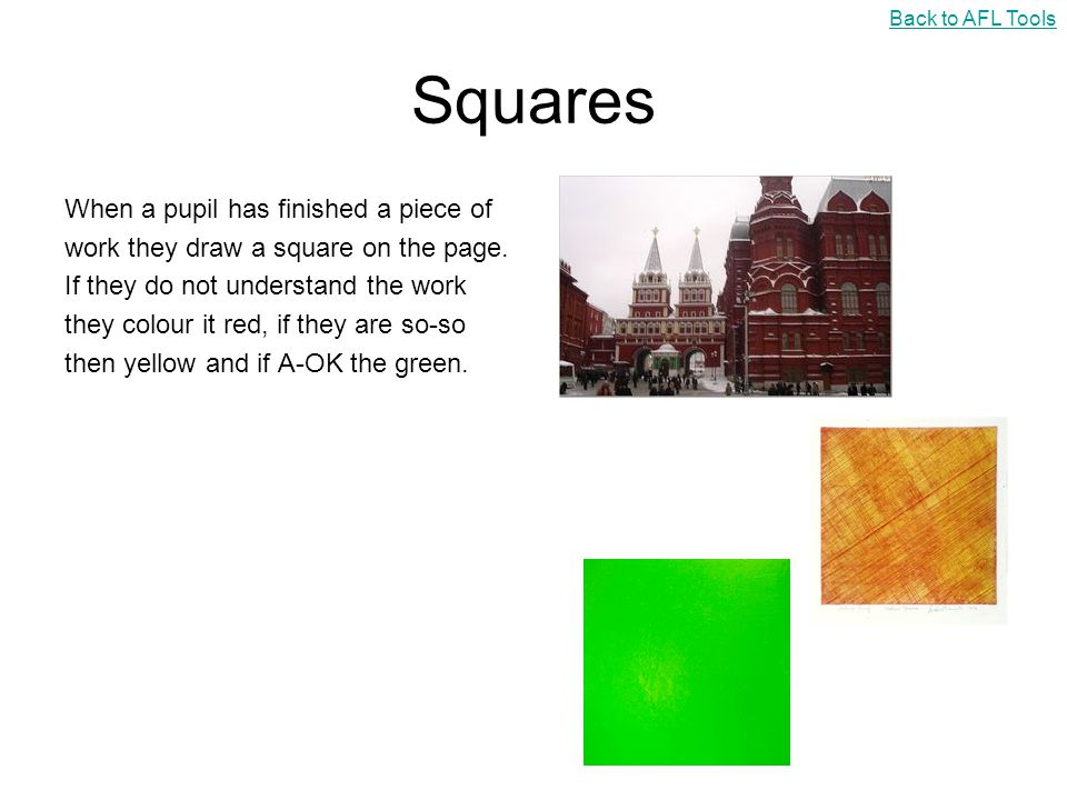 Squares When a pupil has finished a piece of