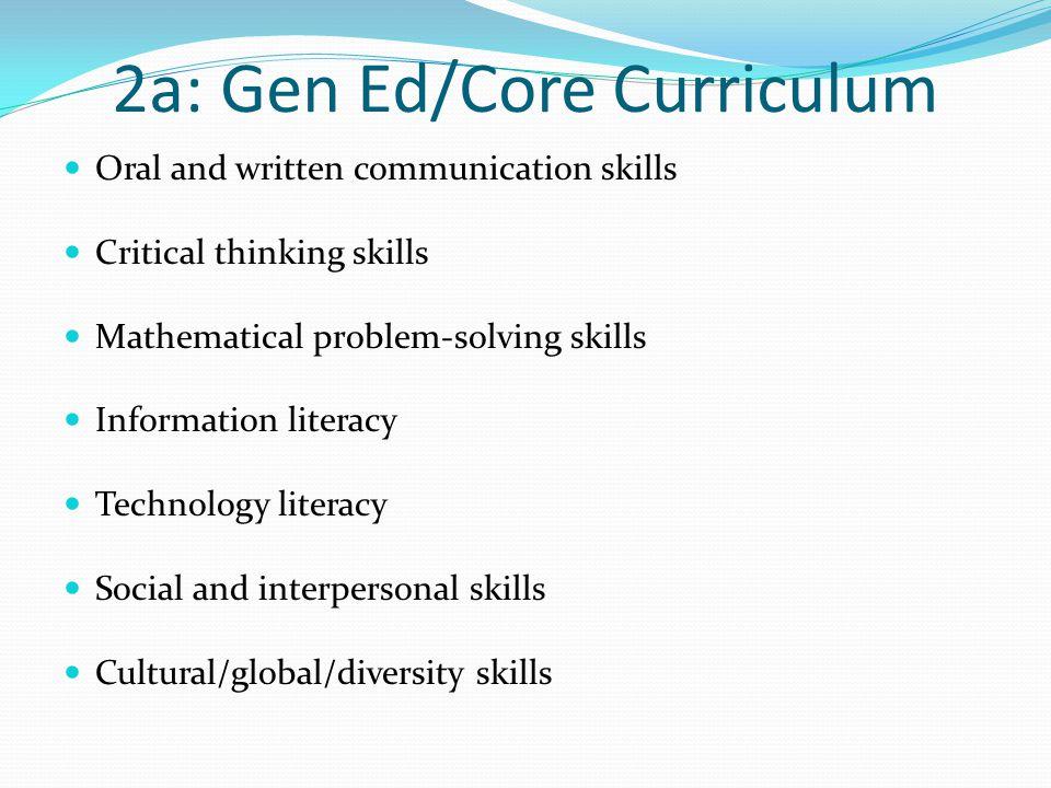 2a: Gen Ed/Core Curriculum