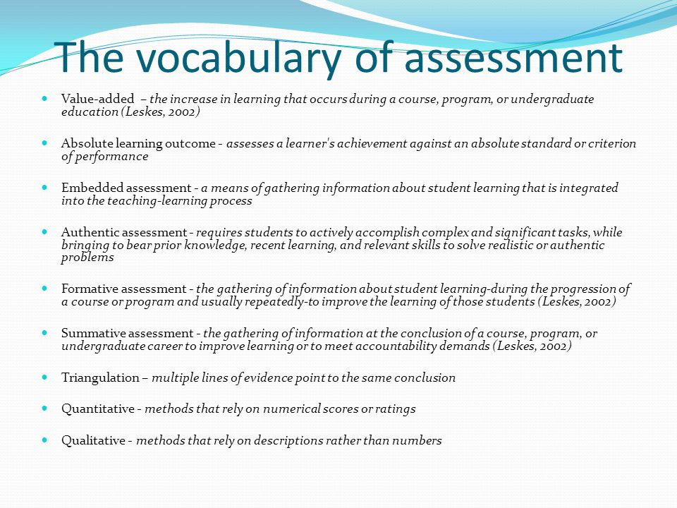 The vocabulary of assessment