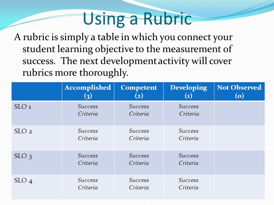 Using a Rubric