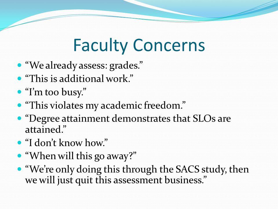 Faculty Concerns We already assess: grades.