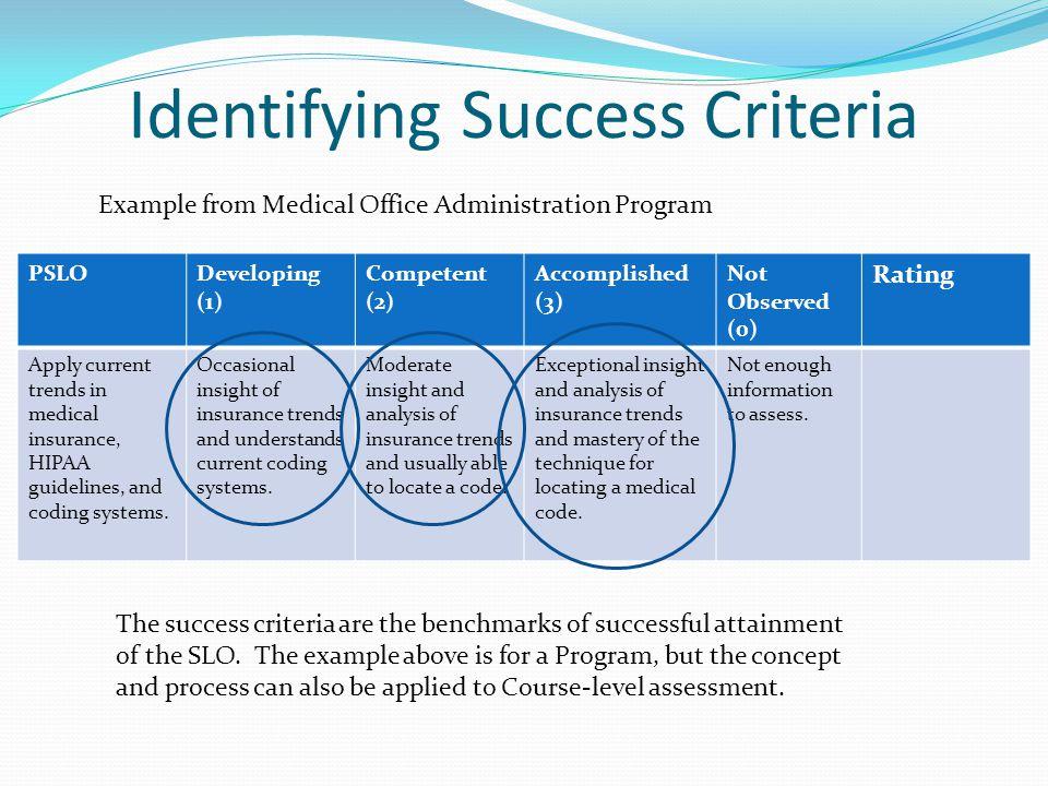 Identifying Success Criteria