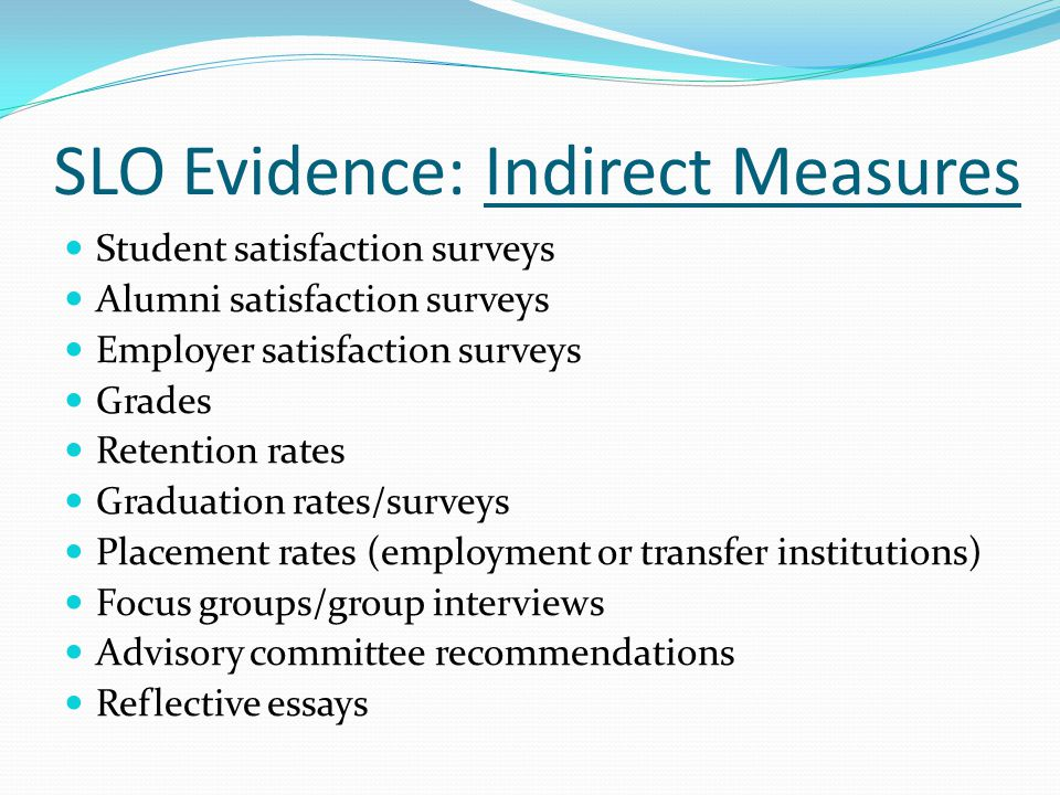 SLO Evidence: Indirect Measures
