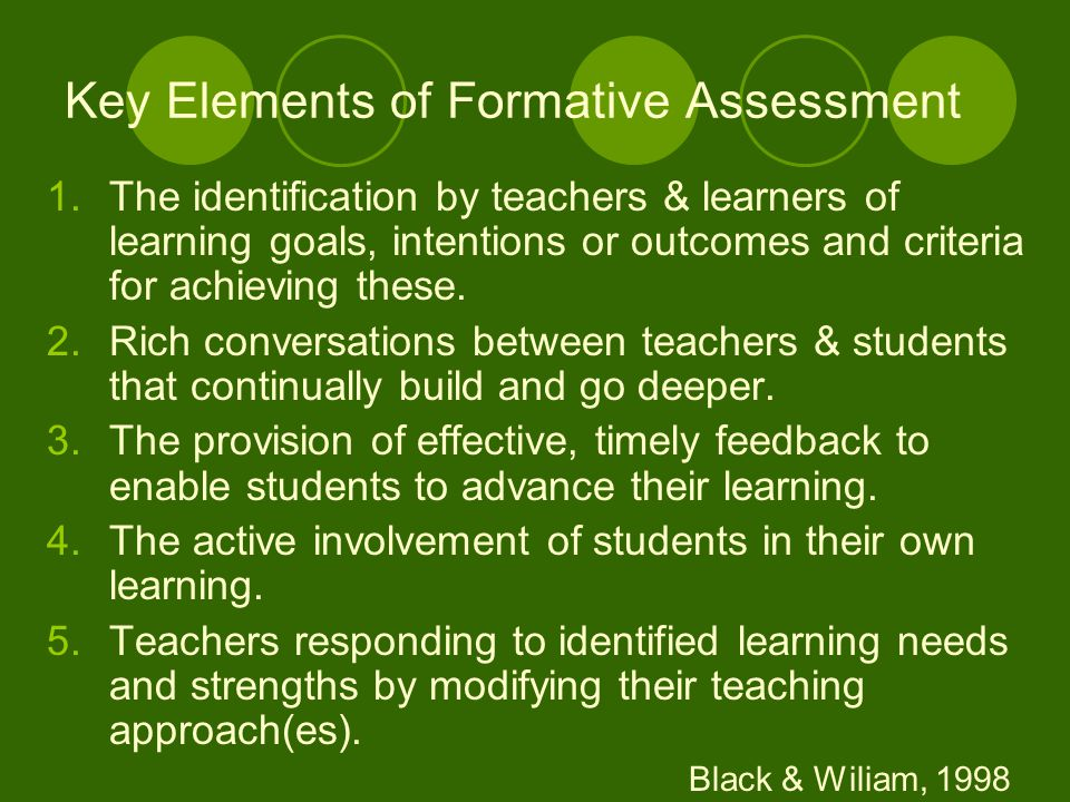 Key Elements of Formative Assessment