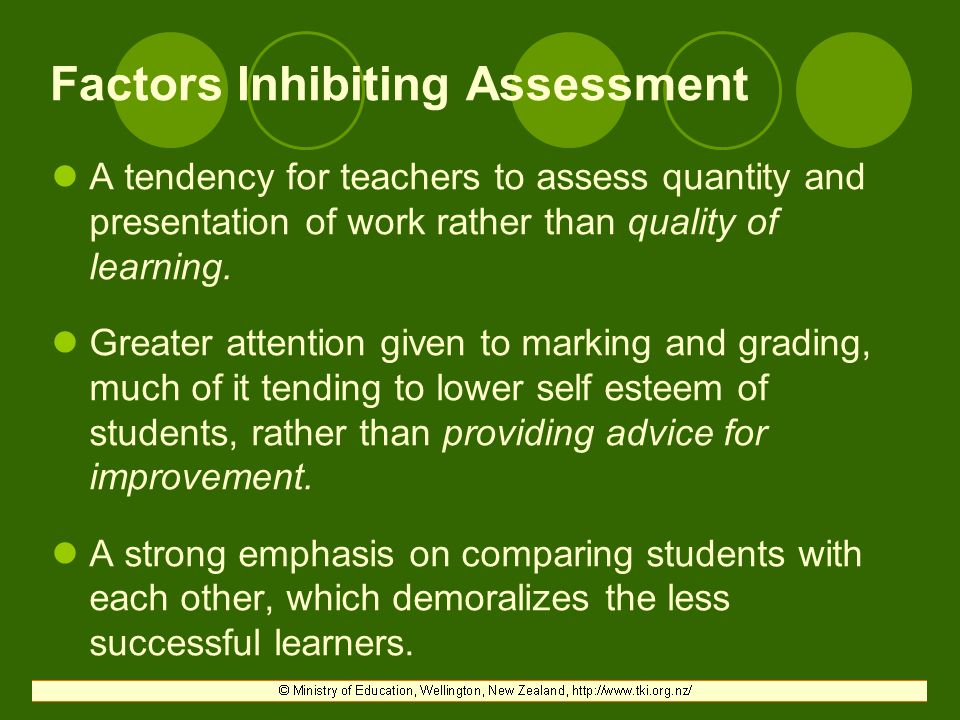 Factors Inhibiting Assessment