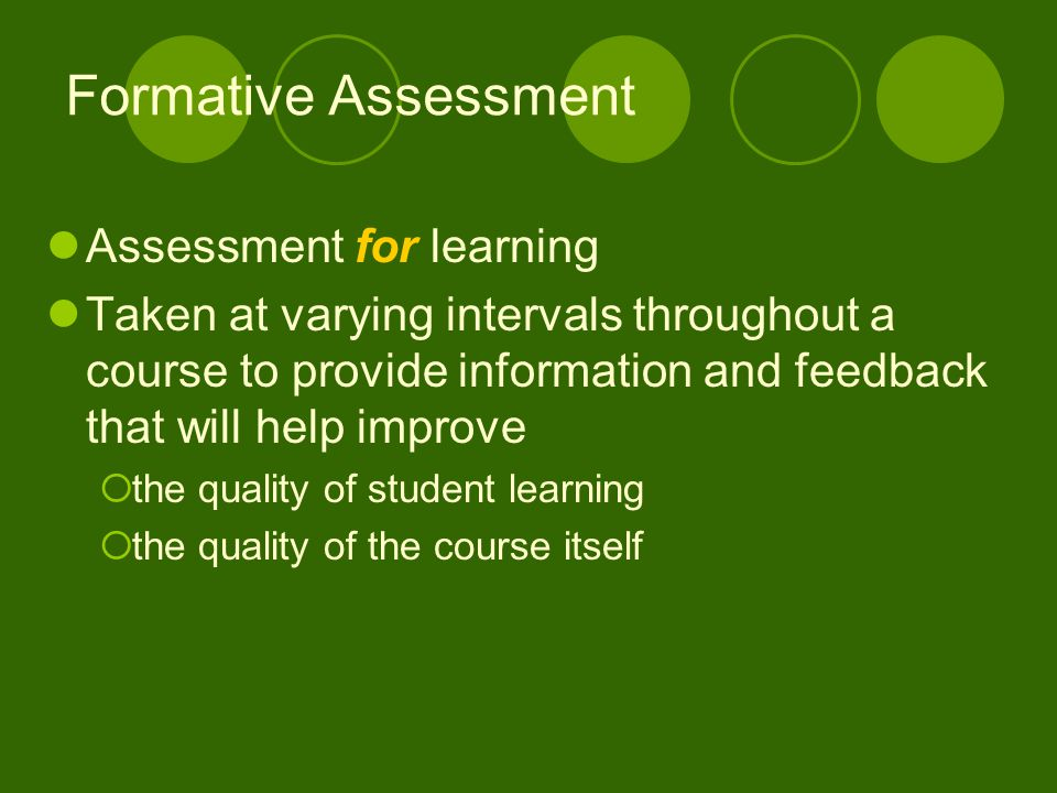 Formative Assessment Assessment for learning