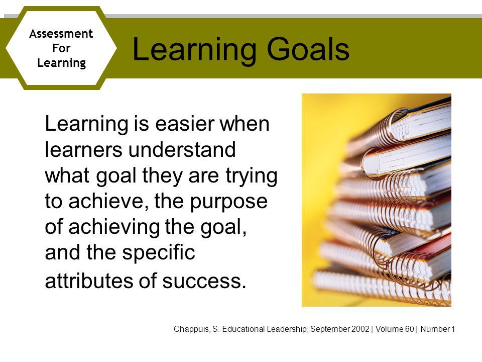 Learning Goals Assessment. For. Learning.