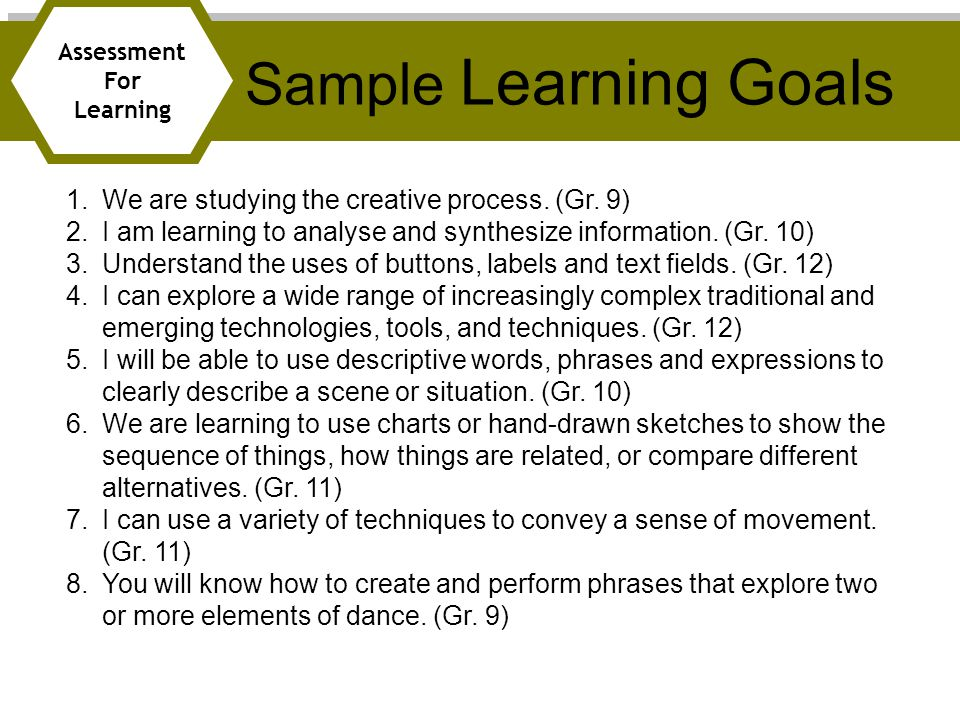 Sample Learning Goals We are studying the creative process. (Gr. 9)