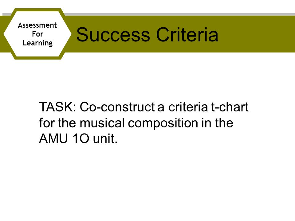 Success Criteria Assessment. For. Learning.