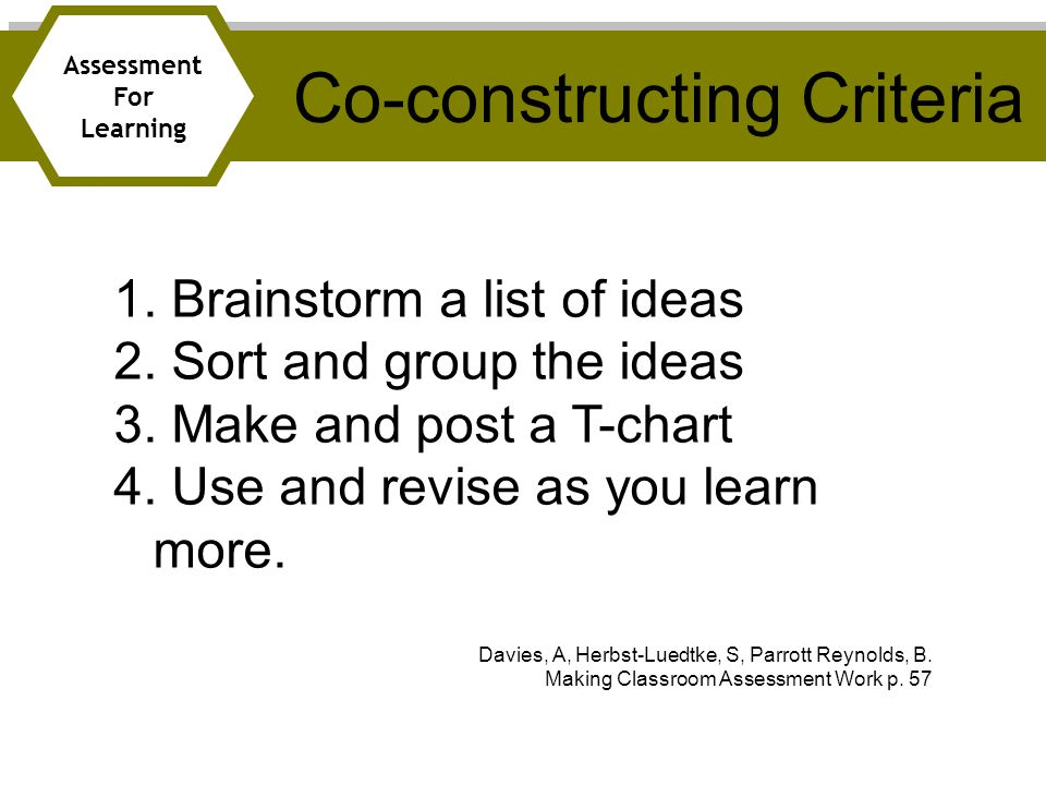 Co-constructing Criteria