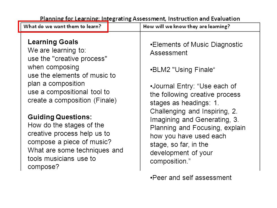Learning Goals We are learning to: use the creative process when composing. use the elements of music to plan a composition.