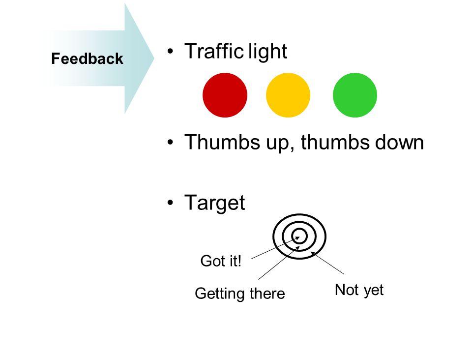 Traffic light Thumbs up, thumbs down Target Feedback Got it! Not yet
