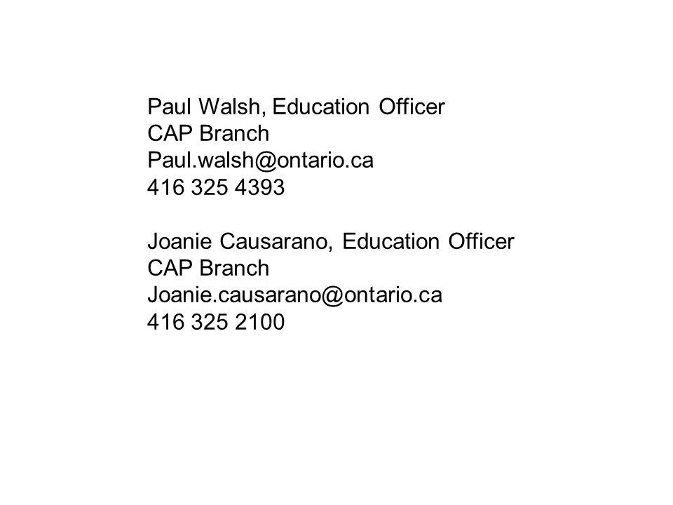 Paul Walsh, Education Officer