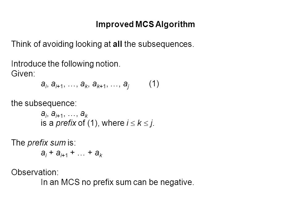 Improved MCS Algorithm