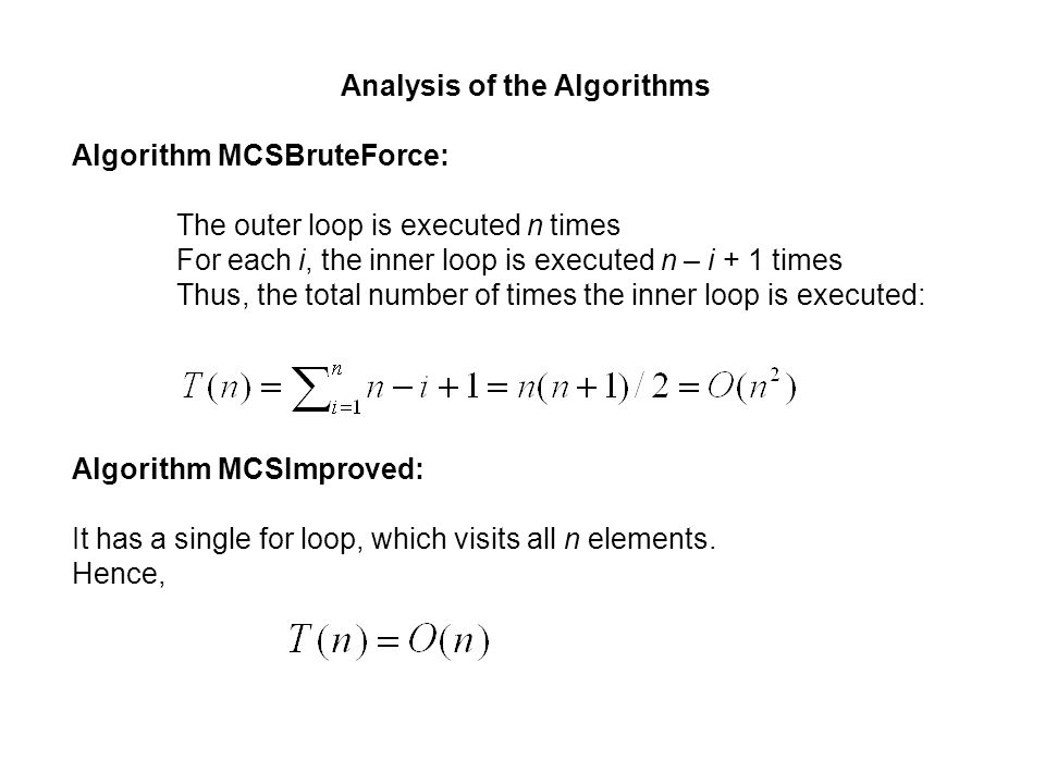 Analysis of the Algorithms